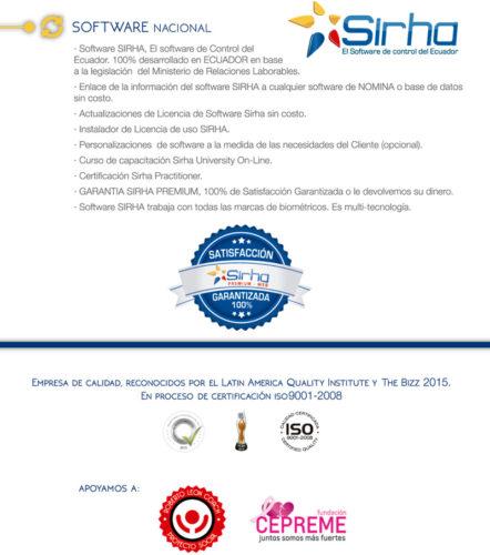 Infografía sobre Software Nacional Sirha - Satisfacción Garantizada 100%. Empresa de Calidad Reconocida por el Latin America Quality Institute y The Bizz 2015. En proceso de Certificación iso9001-2008