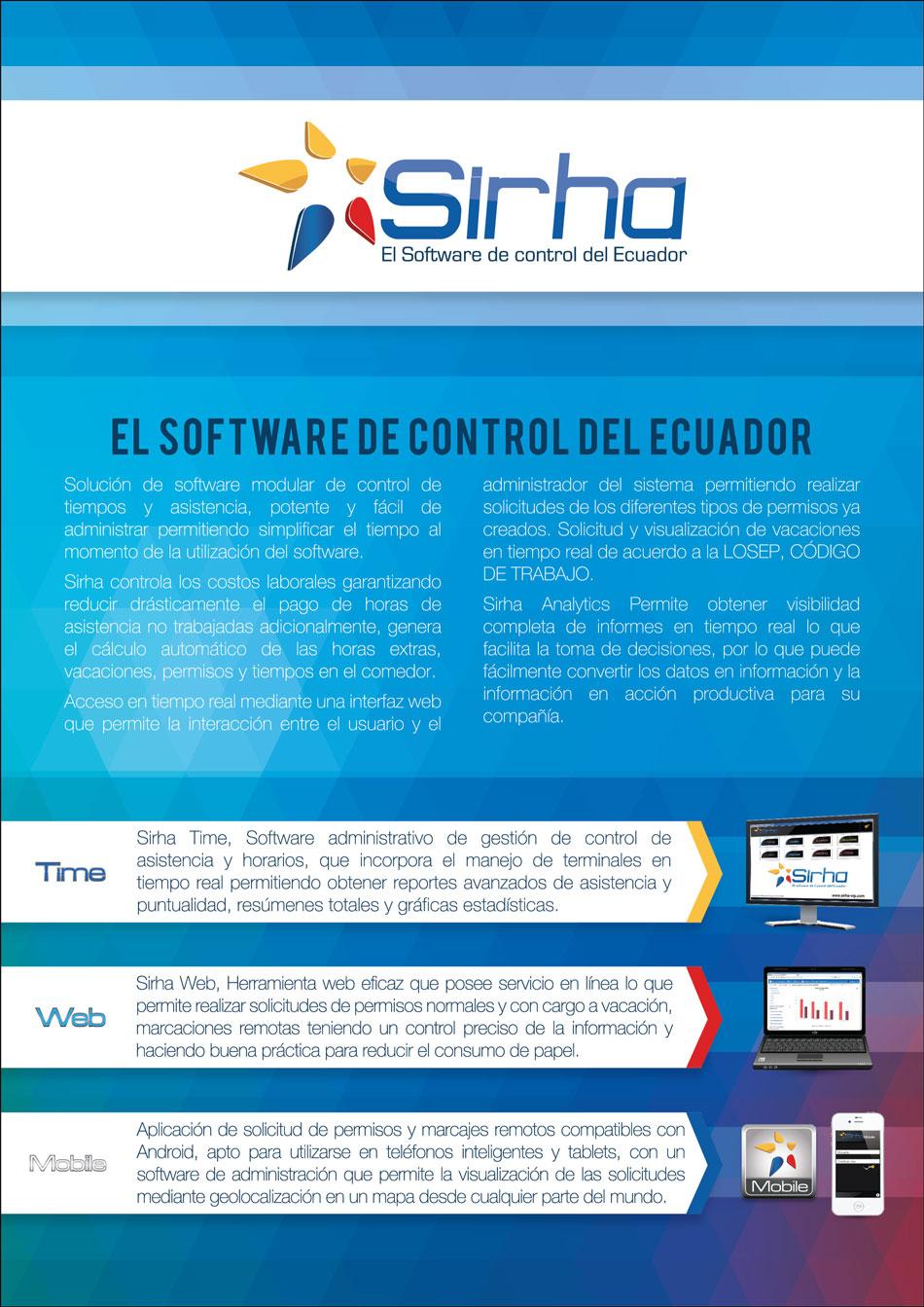 Software Sirha para el Control de Tiempo y Asistencia del Personal de una Empresa. Software fácil de manejar que ayuda a incrementa la productividad de la empresa al ahorrar tiempo. Los productos son: Sirha Time, Sirha Web, Sirha Mobile